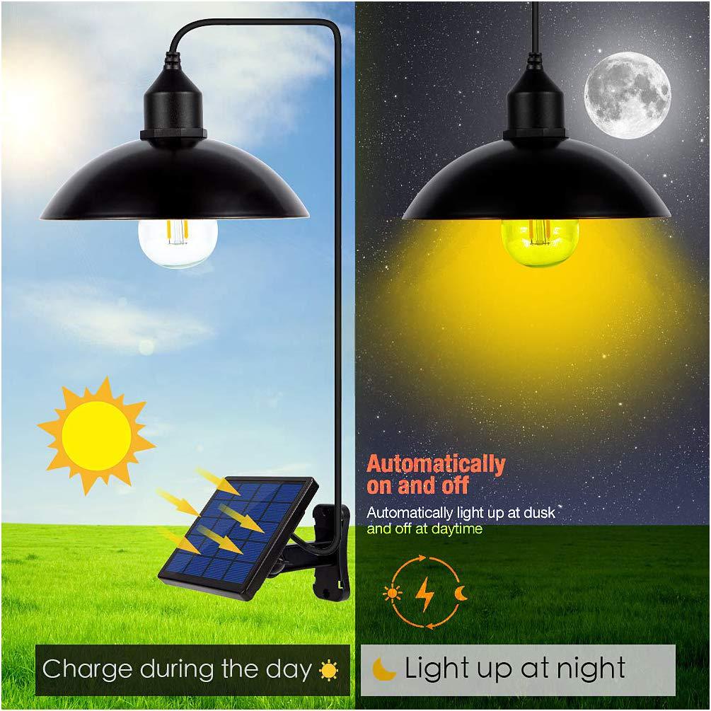 LEDGLE Solar Lights Solar Powered Pendant Light Solar Chandelier Light Warm White Light 2 Modes IP65 Waterproof