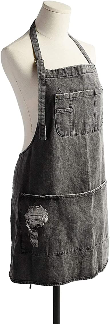 CACHIL Denim Apron With 5 Pockets for Cooking Kitchens