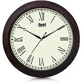 Ajanta Plastic Round Step movement Clock (31 cm x 31 cm x 3.5 cm, Brown)