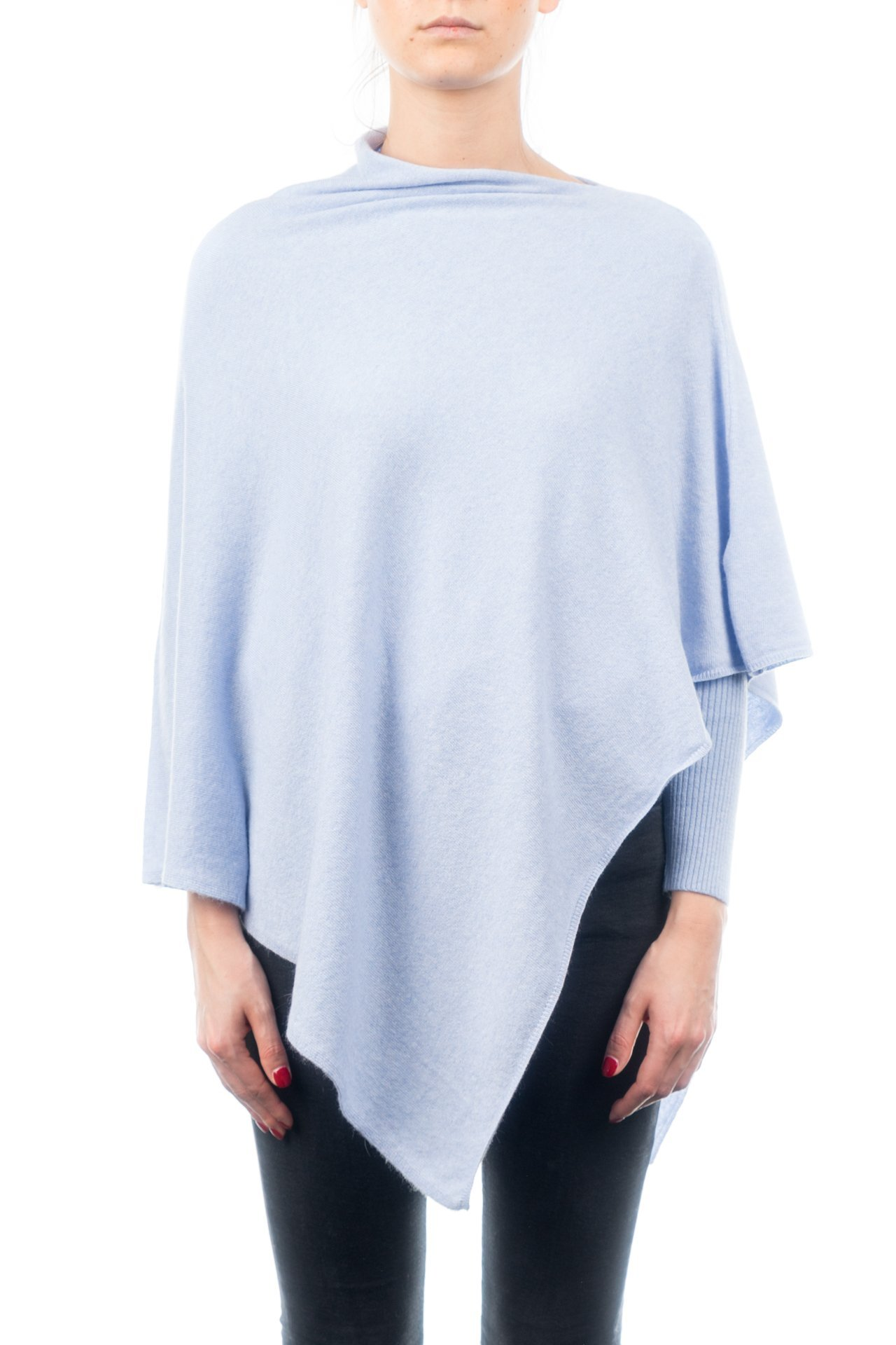 DALLE PIANE CASHMERE - Poncho Cashmere Blend - Made in Italy, Color: Sky, One Size