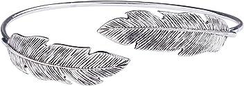 SIX Boho-Chic Upperarm-Cuff: Silberfarbener Armreif für den Oberarm, mit modellierten Federn an den Abschlüssen, offene Enden (731-938)