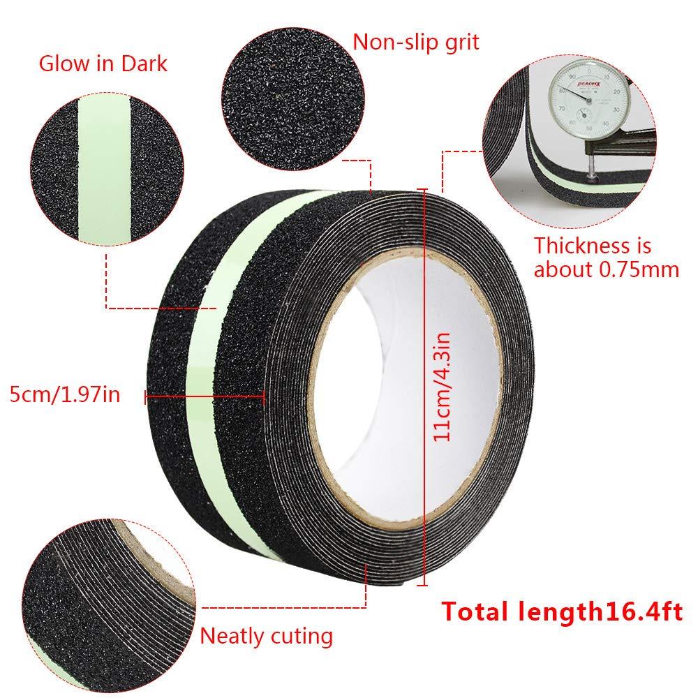 2 X 16.4 ft Homgaty rutschfest Grip Tape Sicherheit Glow in Dark H/öchste Traktion schon Klebeband stark Abrasiv f/ür Stufen Treppen Outdoor 50 mm x 5m B/öden Indoor Boote Rampen