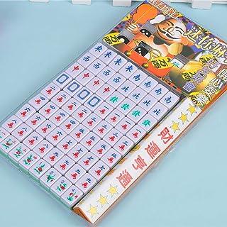 NuoEn Mini Mahjong Versione Cinese Tradizionale Gioco Set Portatile 144 Piastrelle Materiale Acrilico mAh-Jongg Famiglia Tempo Libero per Il Viaggio Bianco