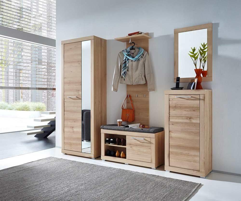 5-tlg. Garderobe in Buche hell Nb./Abs. geriffelt, Schrank B: 72 cm, Paneel B: 50 cm, Bank B: 92 cm, Spiegel B: 52 cm, Schuhschrank B: 52 cm