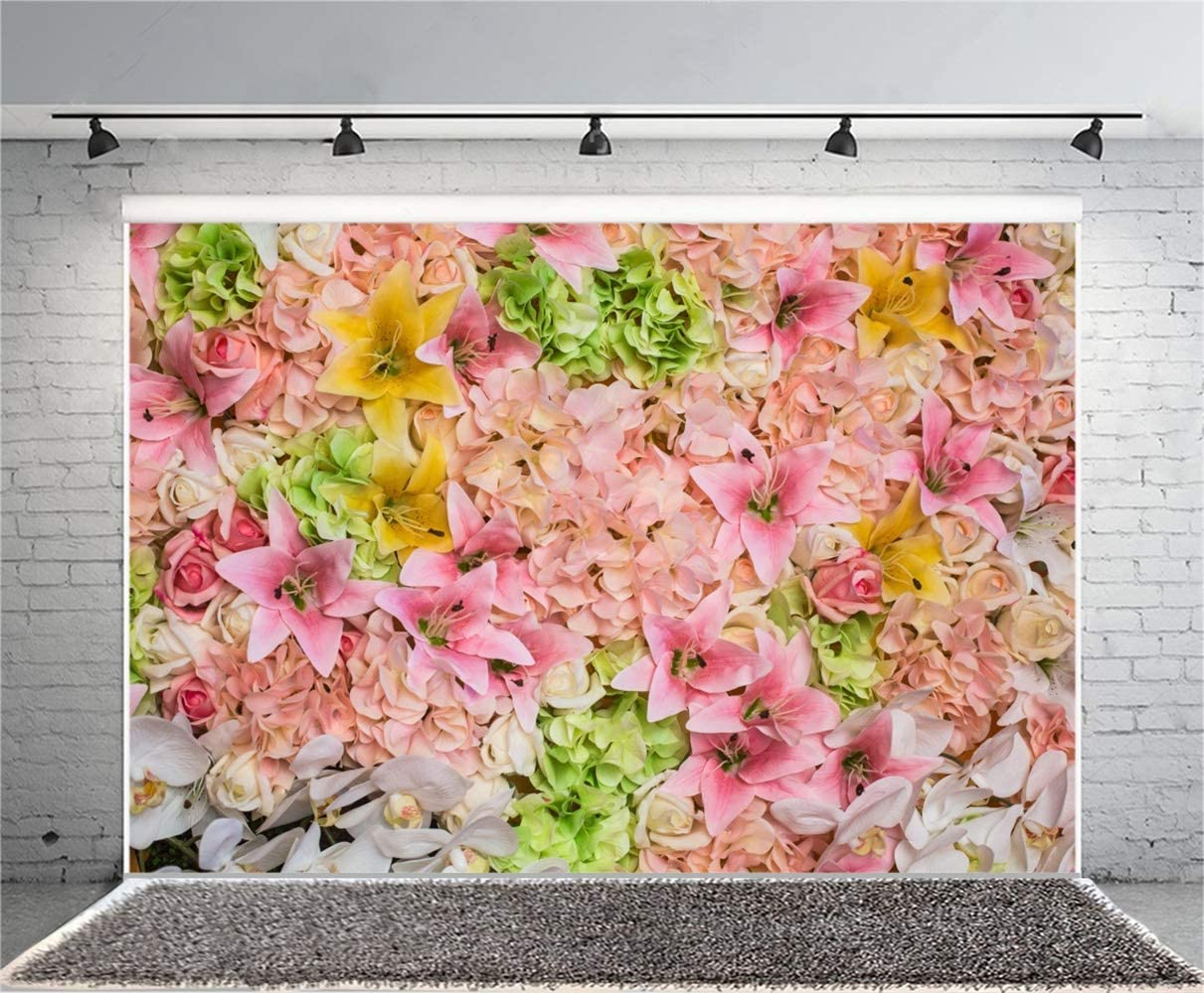 Beautiful Flower Wall Backdrop 7x5ft Polyester Colorful Floral Wedding Stage Wedding Ceremony Background Bridal Shower Wedding Anniversary Party Banner Bride Groom Activities Video Studio Props