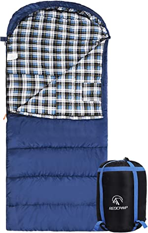 Cotton Flannel Sleeping Bag for Adults, 23/32F Comfortable, Envelope with Compression Sack Blue/Grey 2/3/4lbs (91