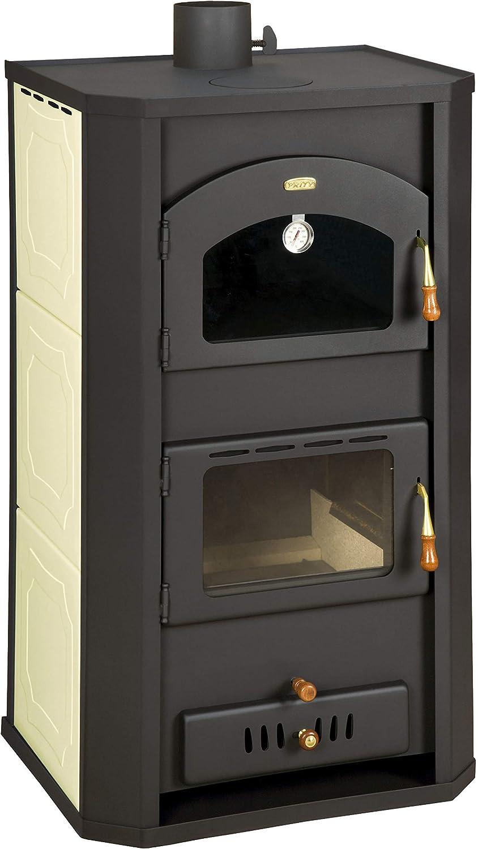 Estufa de leña con horno para sistema de calefacción central. Potencia de calentamiento de 20+6 kW.
