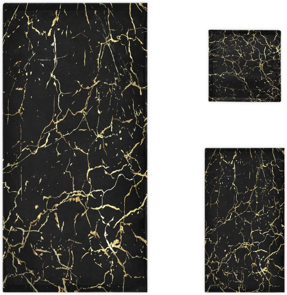 Gym and Spa Hotel Naanle 3D Stylish Gold Marbling Texture Print Soft Bath Towel Large Hand Towels Multipurpose for Bathroom 16 x 30,Black Floral