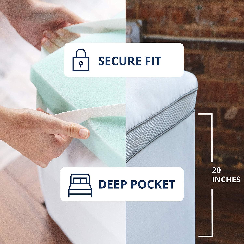 Viscosoft 4 Inch Pillow Top Memory Foam Mattress Topper Queen Serene Lux Dual Layer Mattress Pad Kitchen Dining