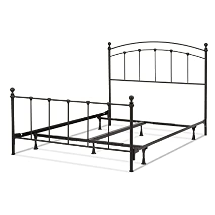 Leggett & Platt Sanford Complete Metal Bed and Steel Support Frame with  Castings and Round Finial Posts, Matte Black Finish, Queen