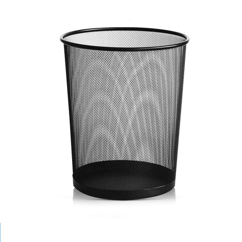 Küchen-Abfalleimer Metall Mesh Mülleimer Leinwand Wohnzimmer Schlafzimmer Badezimmer Küche Einfache Schwarze Mülleimer 10L Pedal Art Mülleimer