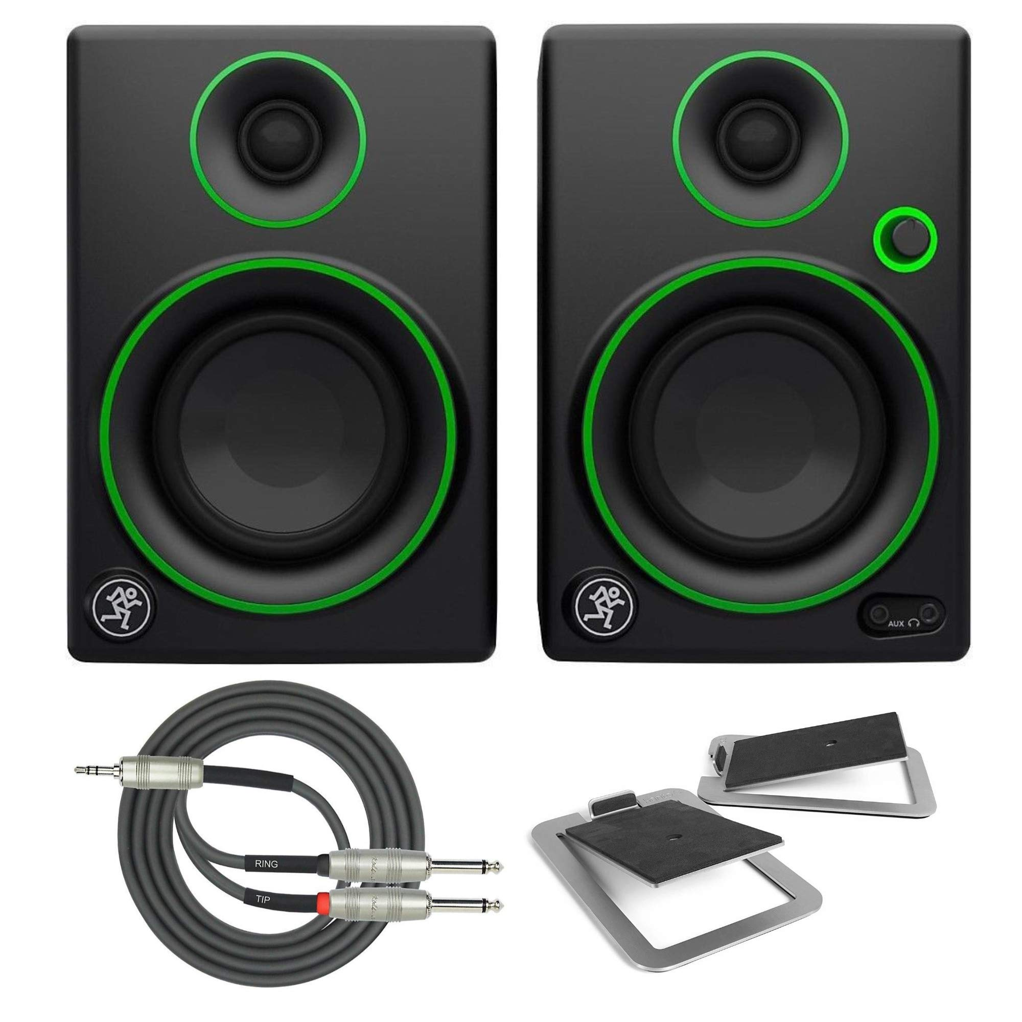 Mackie CR4 4'' Creative Reference Multimedia Monitors (Pair) with Kanto S4 Medium Desk Top Speaker Stands and Breakout Cable by Mackie (Image #1)