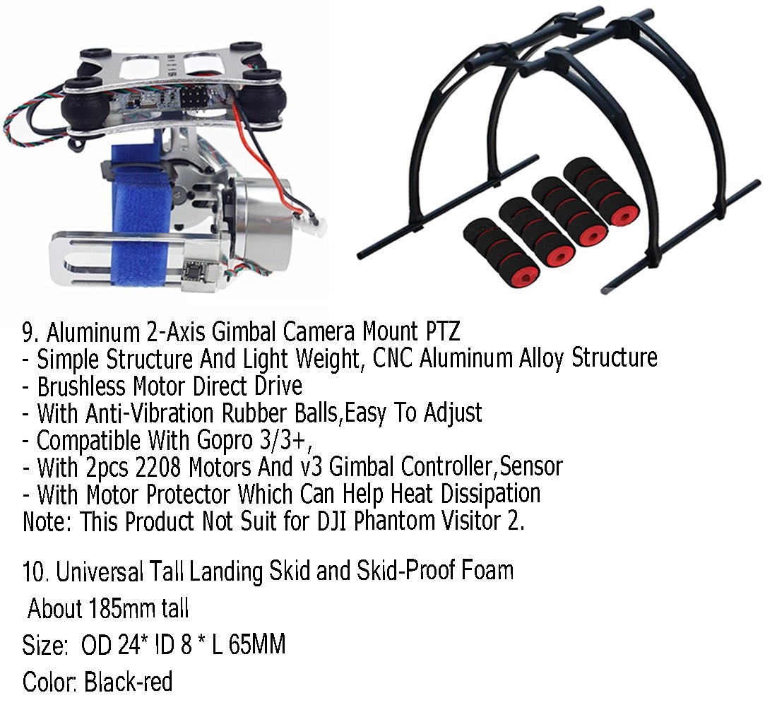 Qwinout Assembled Rtf Full Set 24g 9ch F550 Apm28 Gps 2 Dji Phantom Wiring Diagram Compass Hexacopter Combo Diy Drone With Axle Aluminum Gimbal Mount No Manual Toys