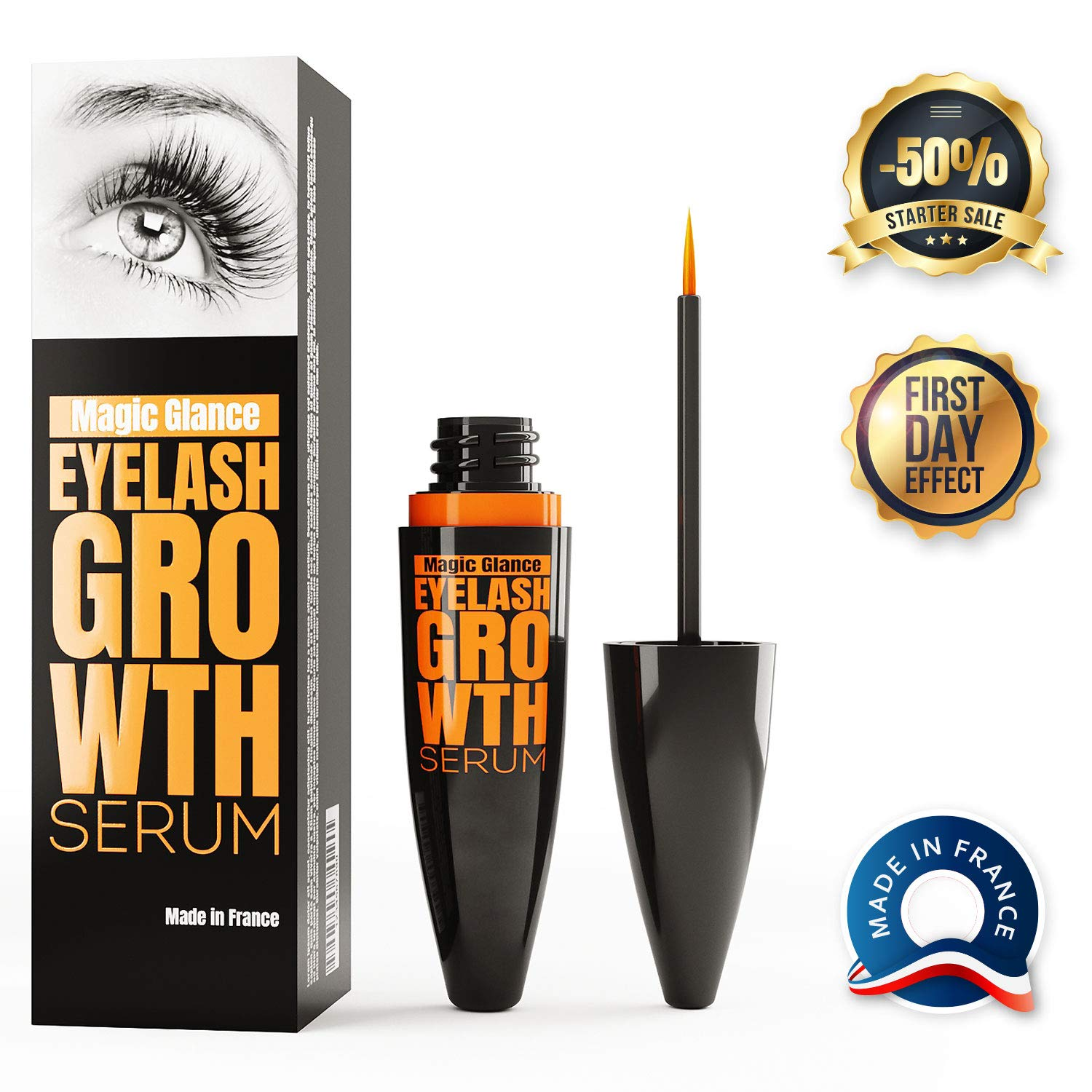 Natural Eyebrow and Eyelash Growth Serum - Boost Enhancer for Full, Long, Thick & Luscious Lashes - Fast Results in 14 Days - Rapid Lash Growth, Healing, Treatment & Care Mediatic Labs