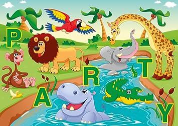6 Lustige Einladungskarten Im Set: U0026quot;Lustige Zoo Tiere Feiern Eine  Partyu0026quot;