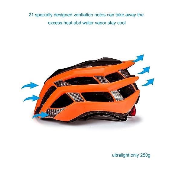 Casco de bicicleta, SKL Ultraligero Casco De Bicicleta Unisex Con La luces traseras LED de Seguridad ajustable de guía / Cascos de bicicleta de montaña ...