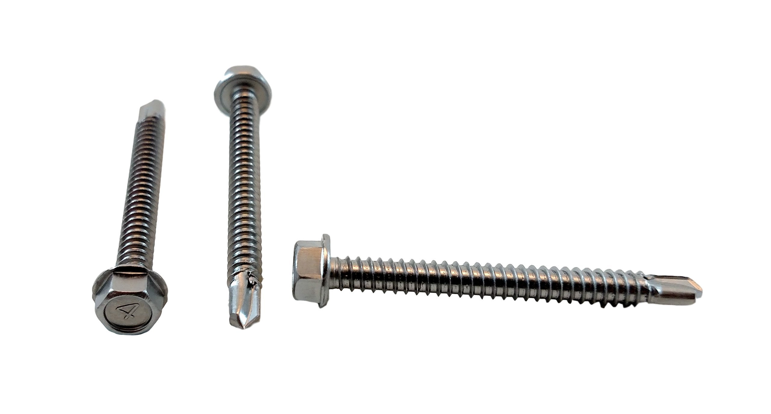 Stainless #14 x 2-1/2'' Hex Washer Head Self Drilling Sheet Metal Tek Screws With Drill Point, (3/4'' To 2-1/2'' Lengths in Listing) 50 pieces (#14 x 2-1/2 inch)