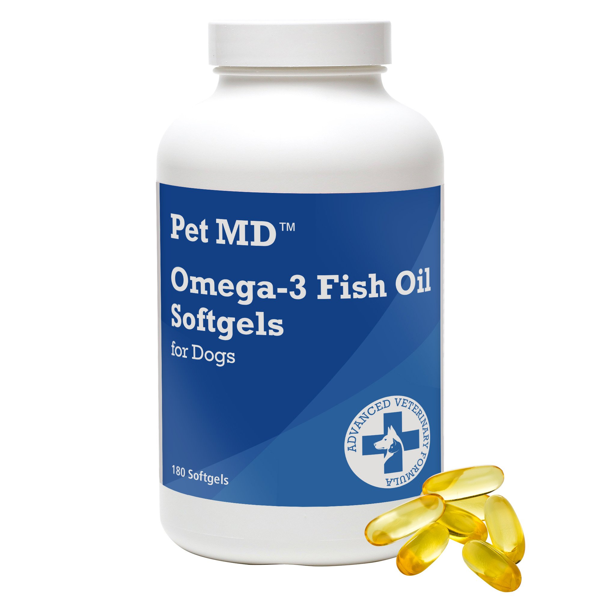 Pet MD – Omega 3 Fish Oil Supplement for Dogs – Skin, Coat, Joint, and Heart Health – 180 Softgels