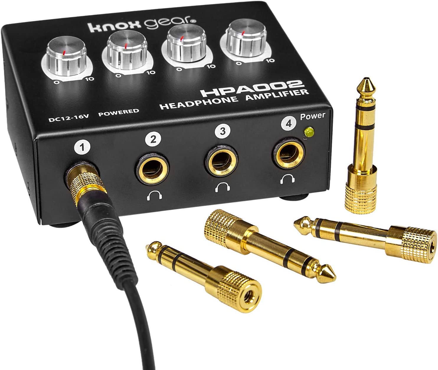 for Performance or Recording Knox Four Channel Headphone Amplifier Ultra Compact Independent Multichannel 1//8 to 1//4 Adapters for Input and Output Mono and Stereo 3.5mm RCA Input
