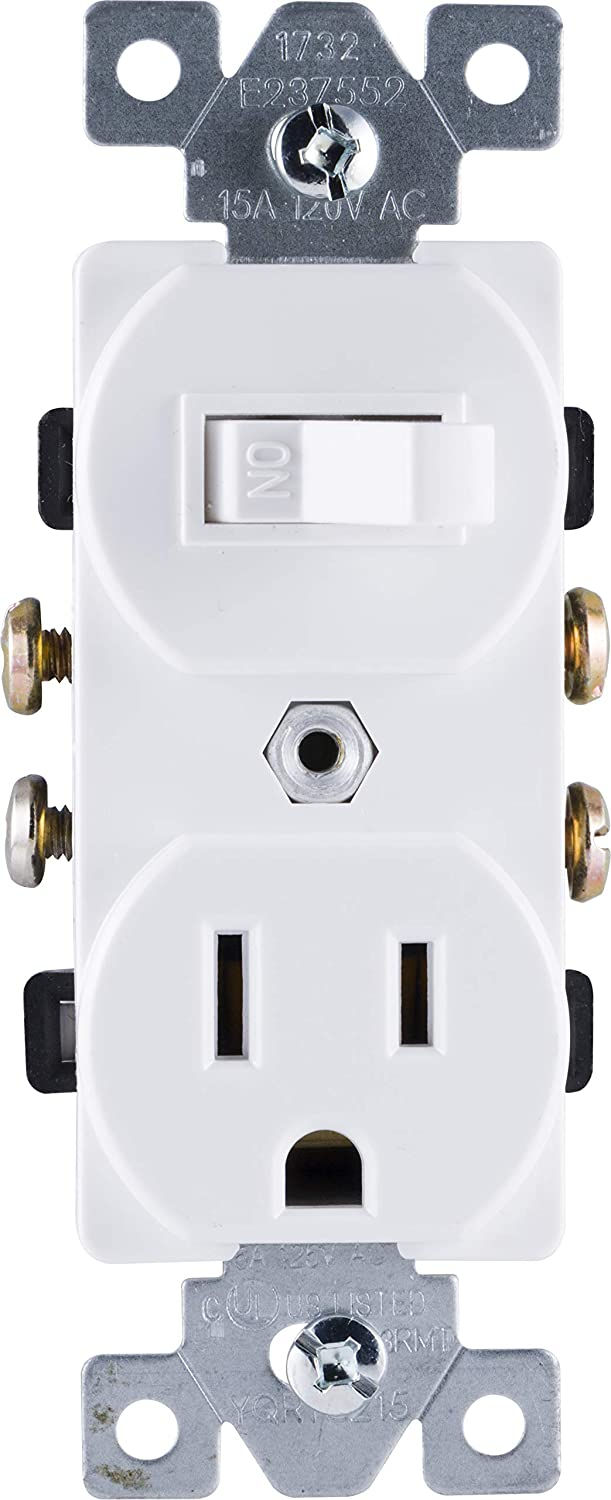 GE Wall Switch & Outlet Combo, Two-in-One Receptacle, 1 On/Off Toggle Power Switch, 1 Grounded AC Outlet Wall Plug, Single Pole, 3 Prong, 15 Amp, UL Listed, White, 59797