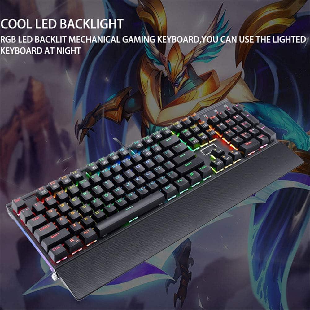 WANGJIANGLI Mechanical Gaming Keyboard 104 Key Blue Switch USB Wired Mechanical Keyboard Esports Gaming RGB Real Mechanical Keyboard with Hand Rest