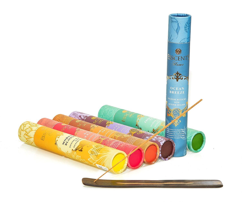 Essence incense gift pack 180 sticks with incense holder 6 flavors, Ocean,Morning Blosom,Jasmine tea,Rose Geranium,Sandalwood spice, And Lavender Rosemary. by Essence (Image #3)