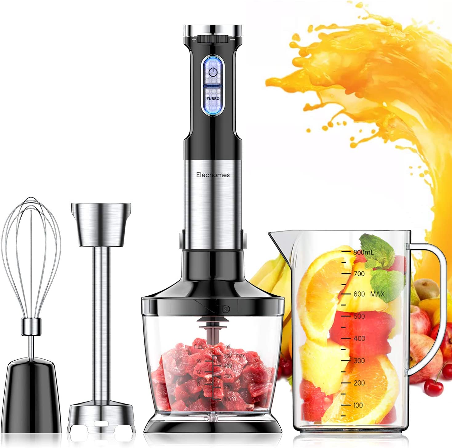 Elechomes 800 Watt Powerful Hand Immersion Blender with Large 800ml Mixing Beaker, 500ml Food Grinder, Egg Whisk, Ultra Strong Stick Blender, Safe Stainless Steel 4-Blade, Multi-Speed, 4-in-1 Setting, Advanced Splash Control Technology, BPA-Free
