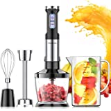 Elechomes 800 Watt Powerful Hand Immersion Blender with Large 800ml Mixing Beaker, 500ml Food Grinder, Egg Whisk, Ultra…