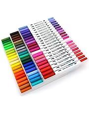 60 pennarelli con doppia punta: con punta fine da 0,4mm e punta brush in feltro da 2 mm, per bullet journal, colorare e disegnare