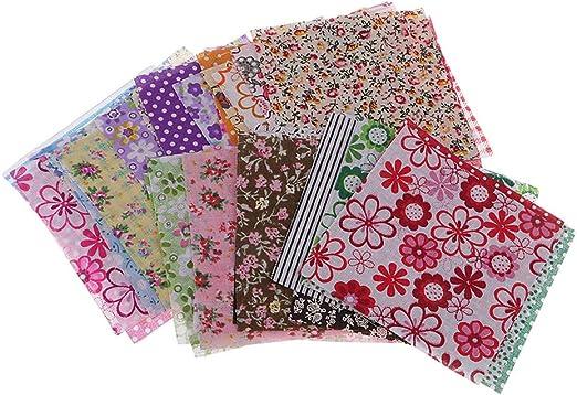 F Fityle 50 Unids Tela Floral Impreso Telas de Algodón Paquete ...