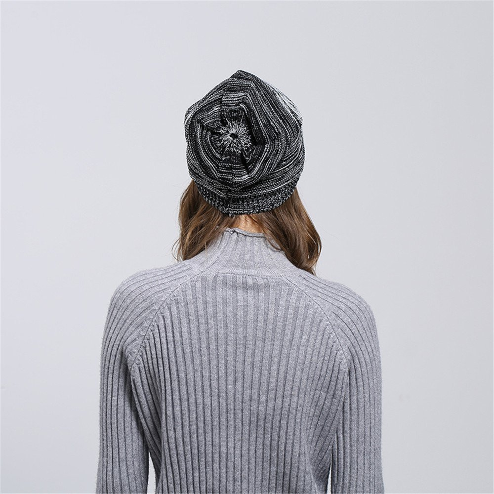 HULKAY Unisex Caps Premium Soft Stretch Pleated Warm Hooded Wool Knitted Hat(Black) by HULKAY (Image #5)