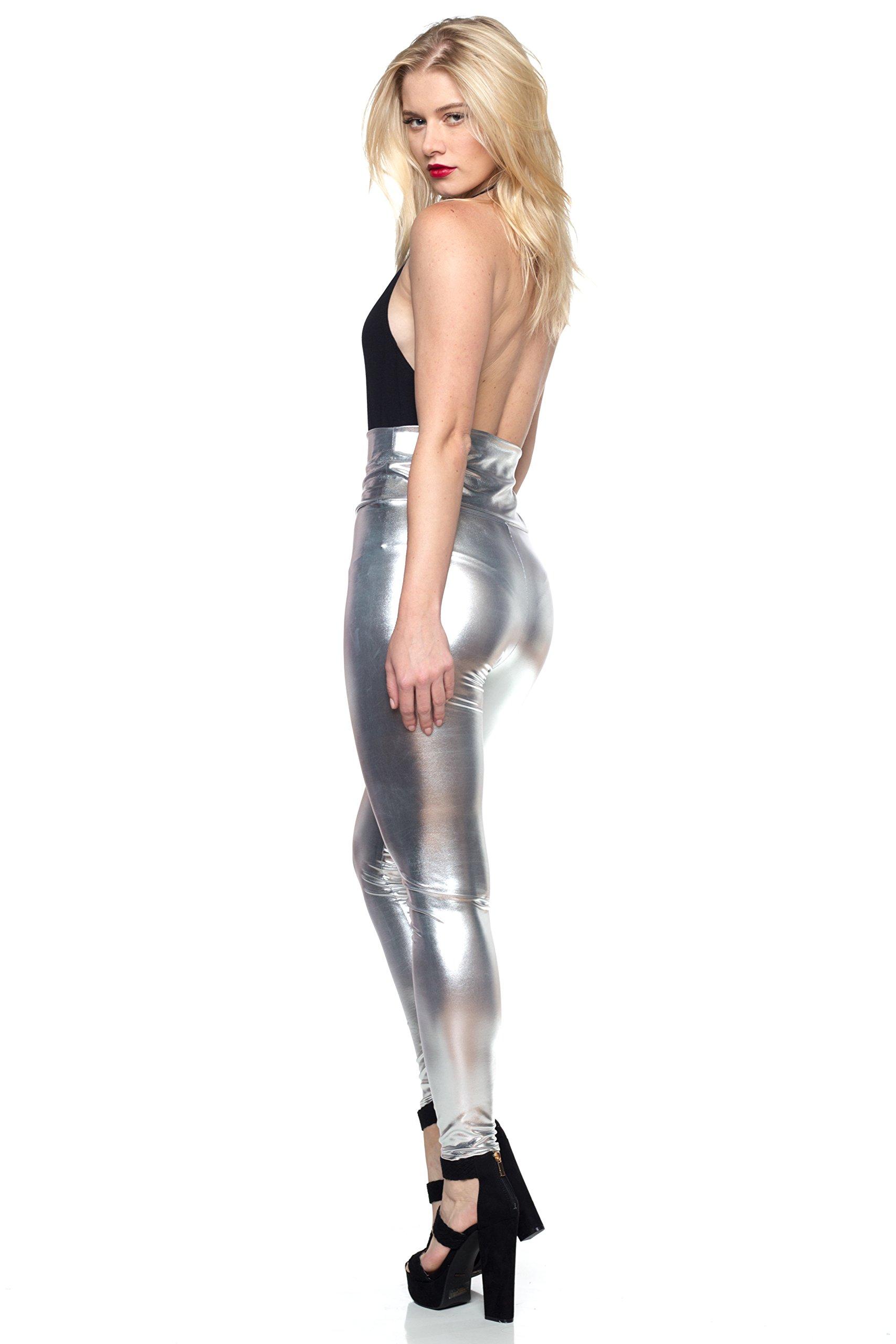 J2 Love Women's Junior Plus Faux Leather High Waist Leggings, 5X, Silver by Cemi Ceri (Image #4)