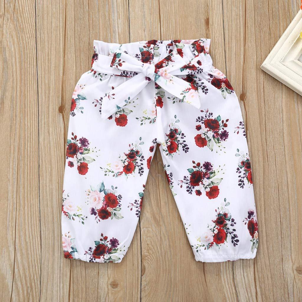 Pantalones de Florales Trajes de Conjunto BBSMILN Ropa Bebe Beb/é Ni/ña 0 3 a 12 Meses Mameluco