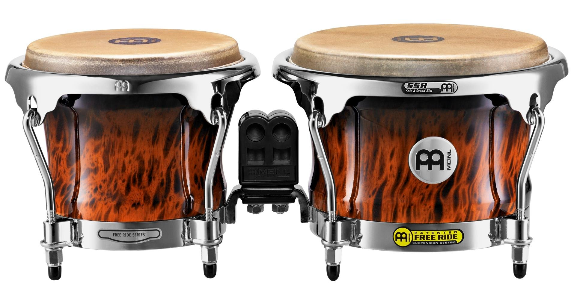 Meinl Percussion FWB400BB Free Ride Series Wood Bongos, Brown Burl Finish
