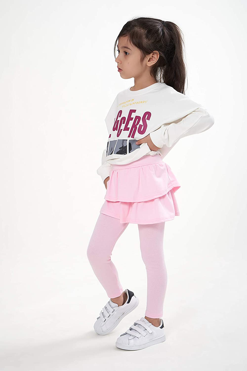 Adorel Girls Leggings with Ruffle Skirt Cotton Solid