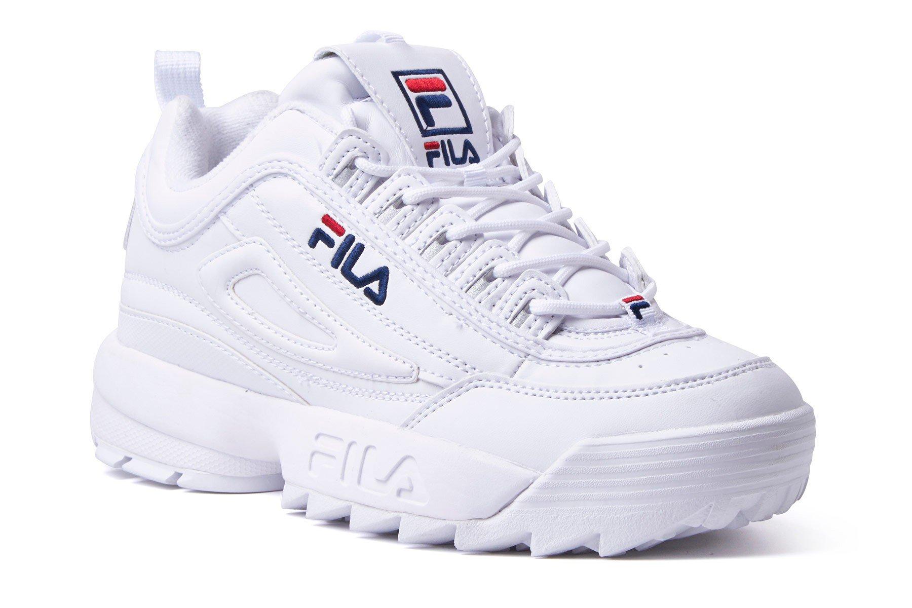 Fila Women's Disruptor II Premium Sneakers, White Navy Red, 9 B(M) US