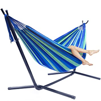 sorbus double hammock with steel stand two person adjustable hammock bed   storage carrying case included amazon     sorbus double hammock with steel stand two person      rh   amazon