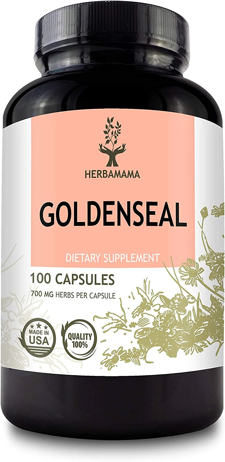 Goldenseal 100 Capsules 700 mg | Filled with Goldenseal Root | Woman's Health Supplement | Non-GMO