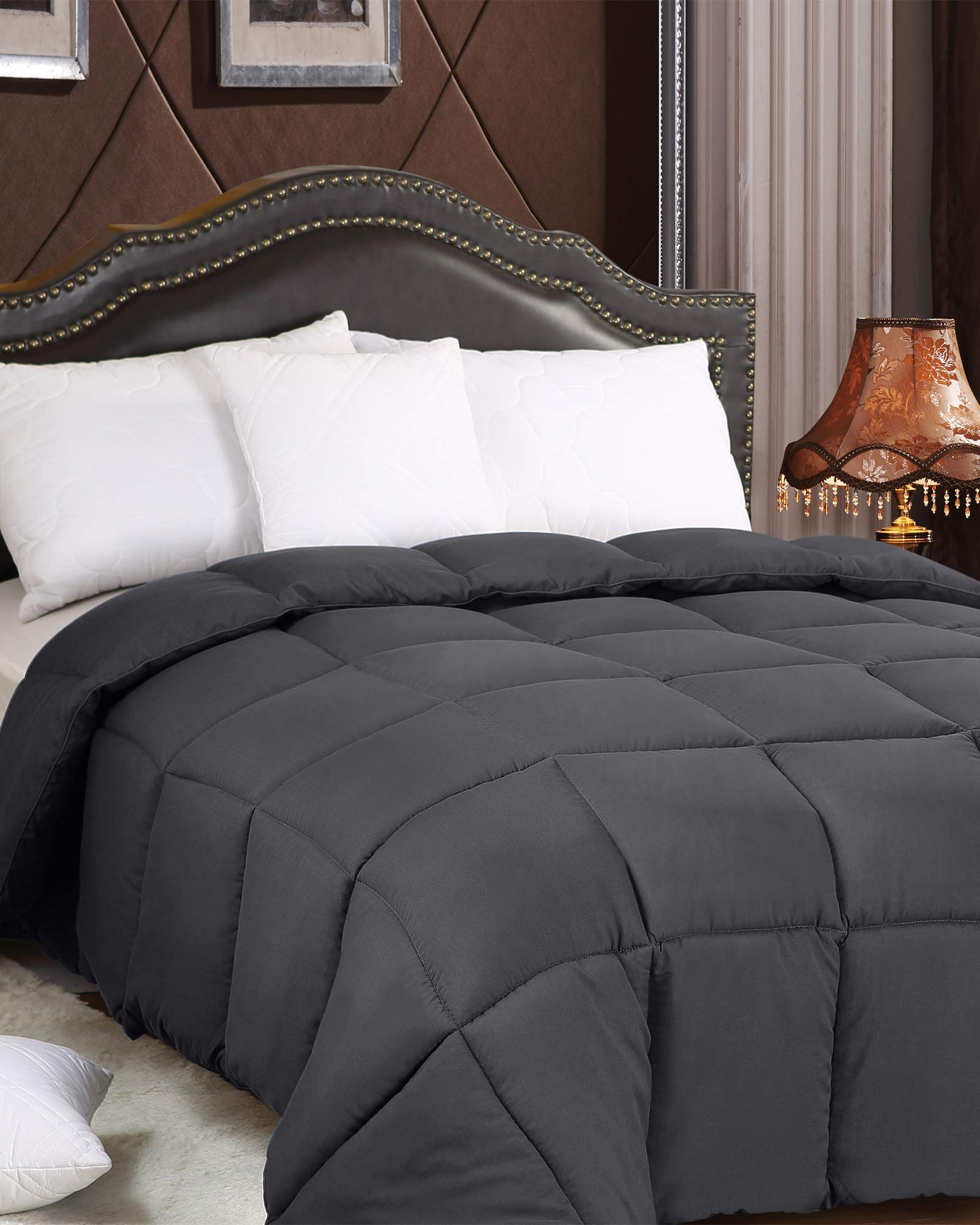 Utopia Bedding All Season 250 GSM Comforter - Soft Down Alternative Comforter - Plush Siliconized Fiberfill Duvet Insert - Box Stitched (Full/Queen, Grey) by Utopia Bedding (Image #3)