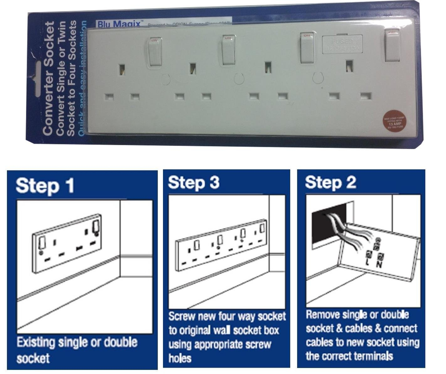 Blumagix Converter Socket Converts Single Or Twin To Four Electrical Outlet Wiring Uk Sockets Diy Tools