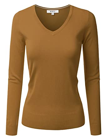 2d2ce77107 DRESSIS Womens Classic Long Sleeve V-Neck Knit Sweater Top DUSTYMUSTARD 1XL