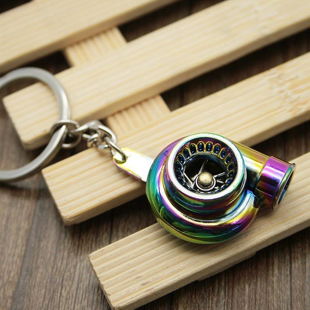 Waterwood Kreative Autoteile Modelle Spinning Turbo Turbolader Keychain Schl Sselketten Ring Regenbogen Auto