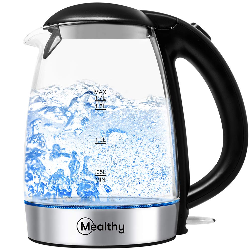 Electric Kettle by Mealthy – Made with high quality Glass and is BPA-Free, 1.7 liter with Auto Shut-Off, Boiler Tea Heater with LED Indicator Light, Boil-Dry Protection, 100 Stainless Steel Inner Lid Bottom heater