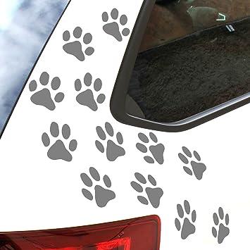Finest Folia 12er Set Hundepfoten Je 6x6 Cm Pfoten Pfötchen Hund Katze Aufkleber Sticker Für Auto Motorrad Wand Laptop Möbel K015 Mittelgrau Auto