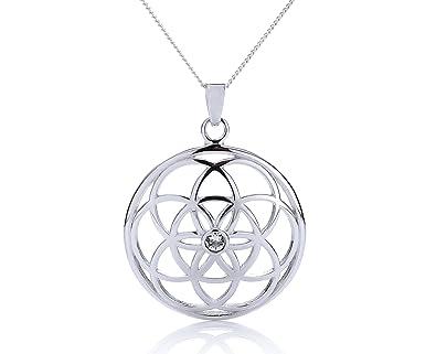 Silvity Damen 925 Silber Blume des Lebens Halskette mit Crystals from  Swarovski® Kristalle 958901- e026bb3c70