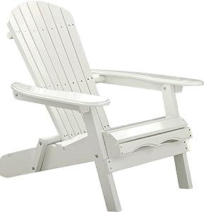 Merry Garden Foldable Wooden Adirondack Chair, Outdoor, Garden, Lawn, Deck Chair, White