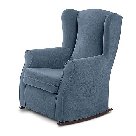 SUENOSZZZ - Sillon orejero balancin Mecedora. Irene (Sillon Lactancia) Sillón tapizado Antimanchas acualine Color Azul. Mecedora para Dormitorio, ...