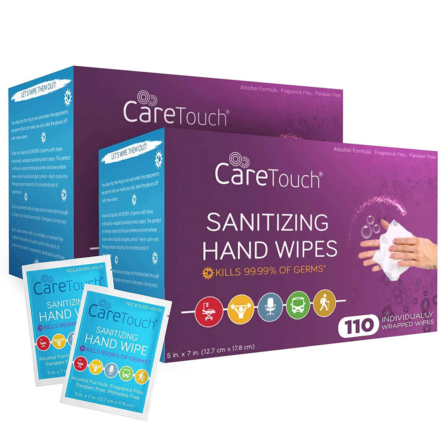 Care Touch Hand Sanitizer Wipes – 220 Individually Wrapped Packets (Box of 2, 110 Wipes Each)