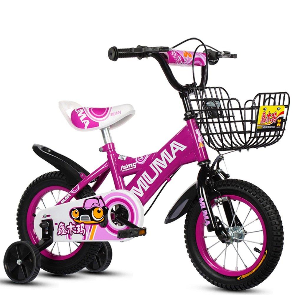 Mariny 子供の自転車2-4-6歳の6-7-8歳の子供の自転車ベビーキャリッジの少年少女自転車のトレーニングホイール (色 : 紫の, サイズ さいず : 12