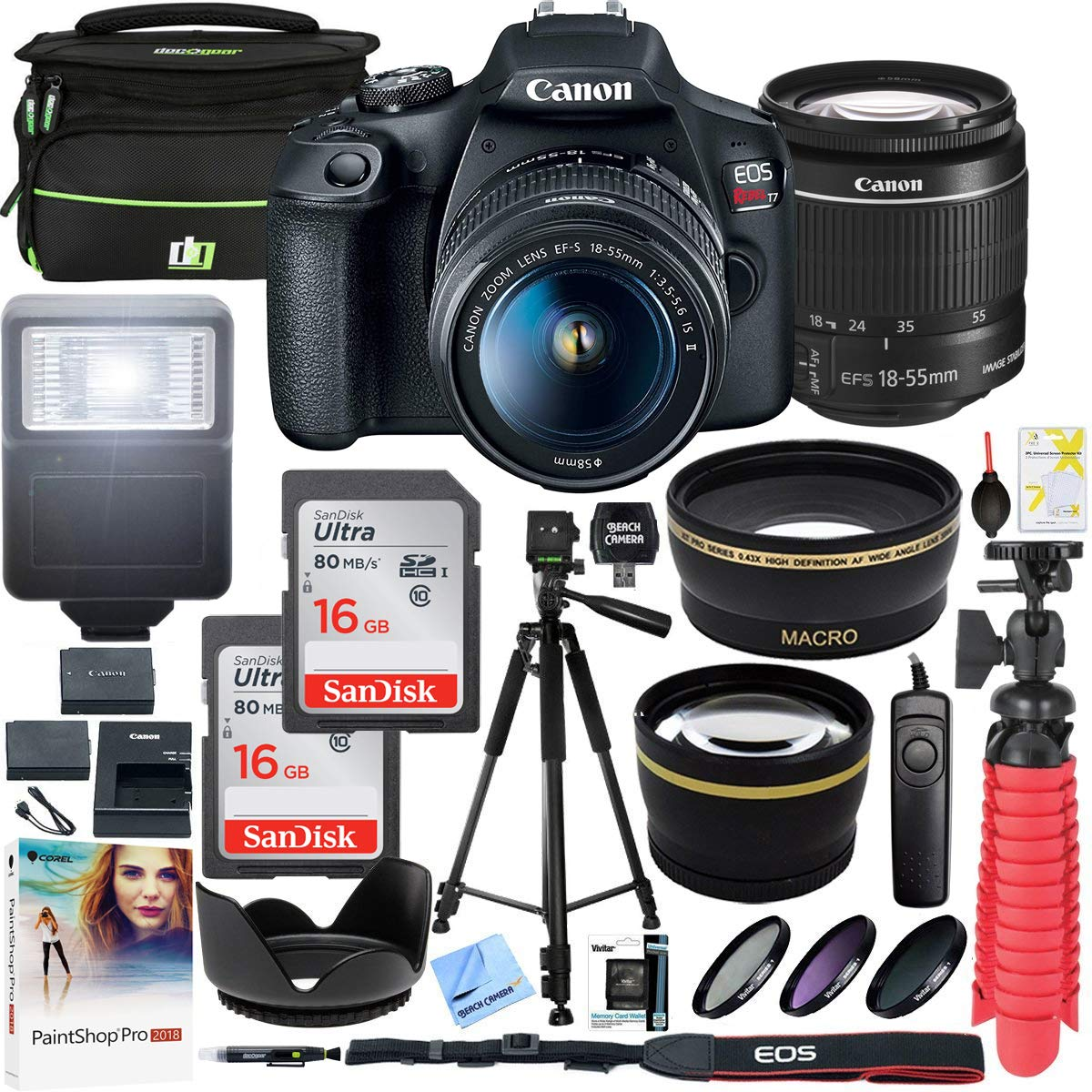 Canon EOS Rebel T7 DSLR Camera with EF-S 18-55mm f/3.5-5.6 is II Lens and Two (2) 16GB SDHC Memory Cards Plus Double Battery Tripod Cleaning Kit Accessory Bundle